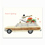 Snowman on a Stationwagon Greeting Card