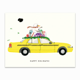 Snowman on a Taxi Greeting Card