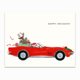 Santa Corvette Greeting Card