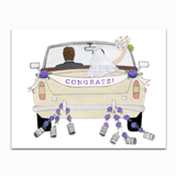 Congrats Wedding Car Greeting Card