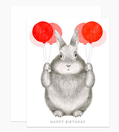 Graphite Bunny with Balloons