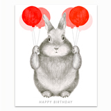 Graphite Bunny with Balloons Greeting Card