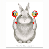 Graphite Bunny with Maracas Greeting Card