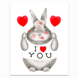 I Heart You Bunny Greeting Card