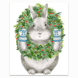 Bunny With Wreath Greeting Card