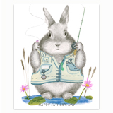 Fishing Dad Bunny Greeting Card