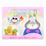 Mom Bunny Driving Greeting Card