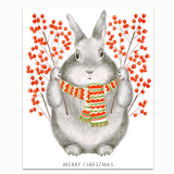 Winterberry Bunny Greeting Card