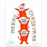 Kittens in Holiday Onesies Greeting Card