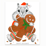 Chipmunk Eating Gingerbread Greeting Card