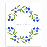Blueberry Sympathy Wreath Greeting Card