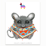 Mouse wearing a Poncho Greeting Card