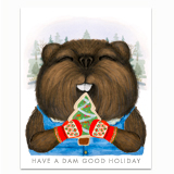Holiday Beaver Greeting Card
