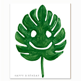 Monstera Leaf Birthday Greeting Card