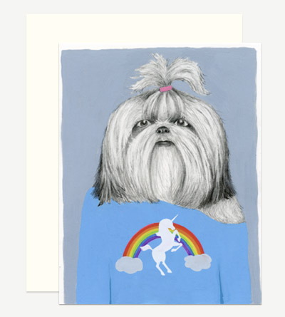 Shih Tzu in a Unicorn Tee