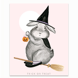 Bunny Witch on Magical Broom Greeting Card
