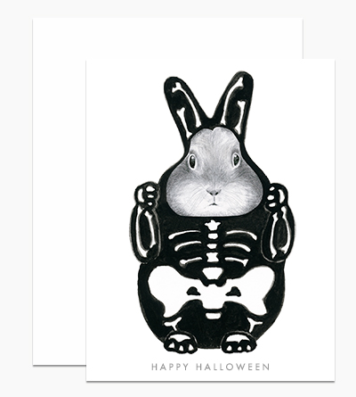 Bunny in a Skeleton Costume