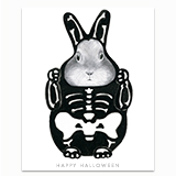 Bunny in a Skeleton Costume Greeting Card