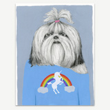 Shih Tzu in a Unicorn Tee Greeting Card