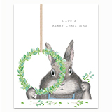 Bunny Making a Wreath Greeting Card