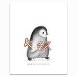 Penguin with Gingerbread Fish Greeting Card