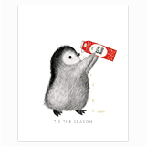 Penguin Drinking Eggnog Greeting Card