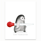 Penguin with Turkey Baster Greeting Card