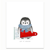 Penguin with Snow Scraper Greeting Card