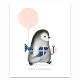 Penguin with Wrapped Fish Present Greeting Card