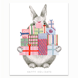 Bunny Carrying Holiday Gifts Greeting Card