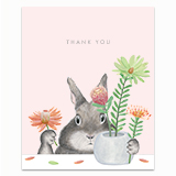 Bunny Arranging Protea Greeting Card