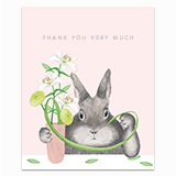 Bunny Arranging Stargazers Greeting Card