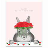 Bunny with Roses Greeting Card