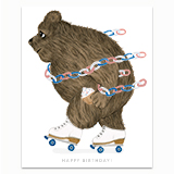 Rollerskating Bear Greeting Card