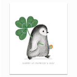 St. Patrick's Day Penguin Greeting Card