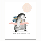 Bookworm Penguin Greeting Card