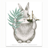 Frondship Bunny Greeting Card