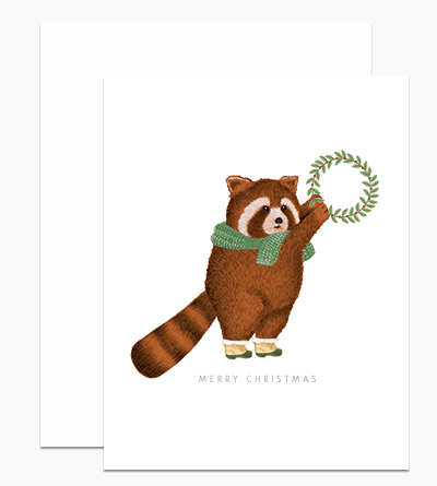 Red Panda with Wreath
