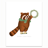Red Panda with Wreath Greeting Card