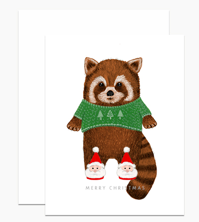 Red Panda in Santa Slippers
