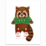 Red Panda in Santa Slippers Greeting Card