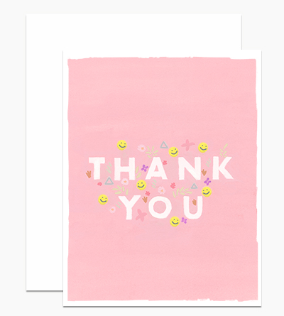 Pink Thank You with Smileys