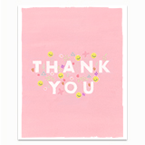 Pink Thank You with Smileys Greeting Card