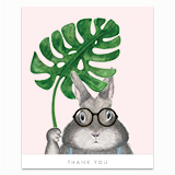 Bunny with Monstera Greeting Card