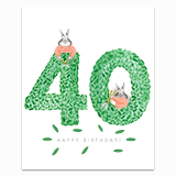 Happy Birthday Topiary 40 Greeting Card