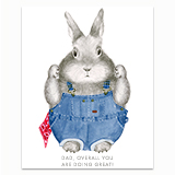 Overall Dad Bunny Greeting Card