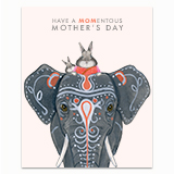 Mom Bunny on Elephant Greeting Card