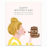 Cattitude Mom - Yellow Blouse Greeting Card