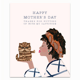 Cattitude Mom - Orange Headband Greeting Card