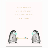 6ft Apart Penguins Greeting Card